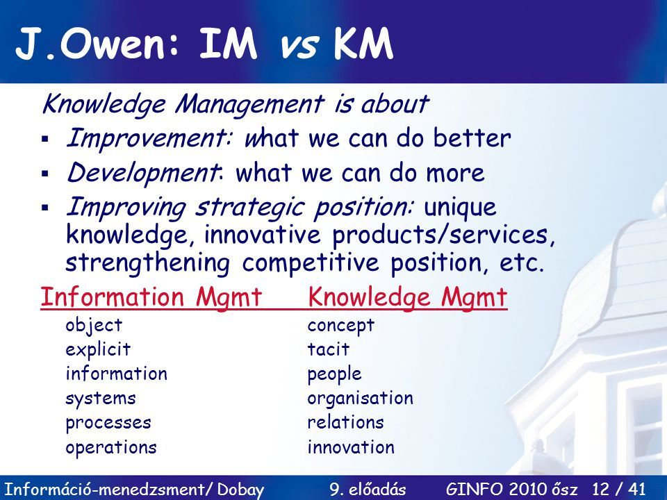 J.Owen: IM vs KM Knowledge Management is about