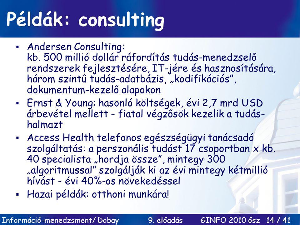 Példák: consulting