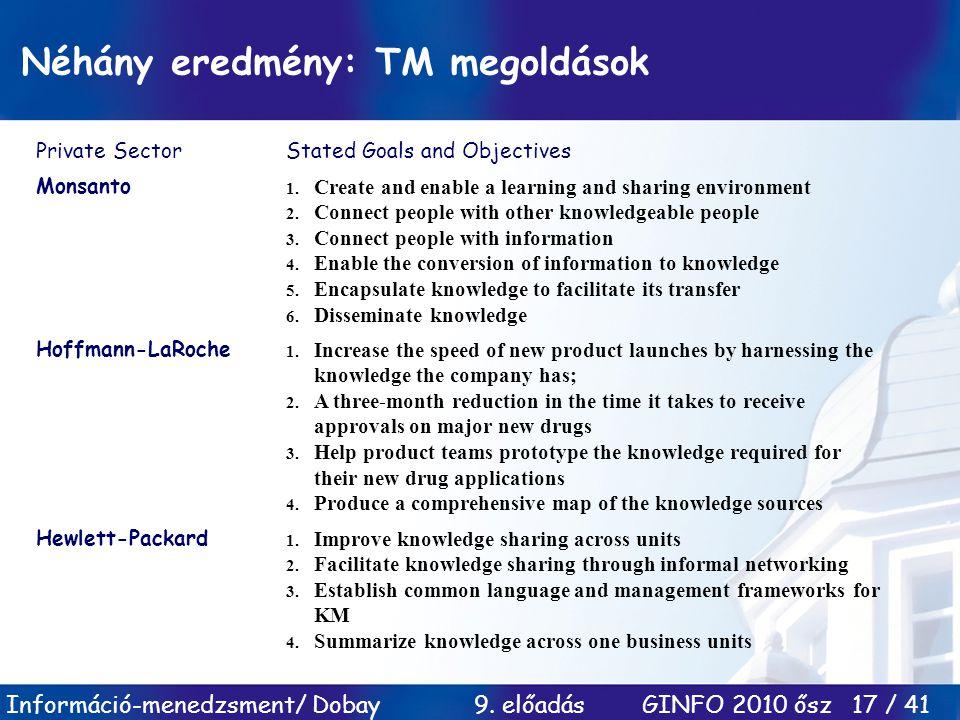 Néhány eredmény: TM megoldások