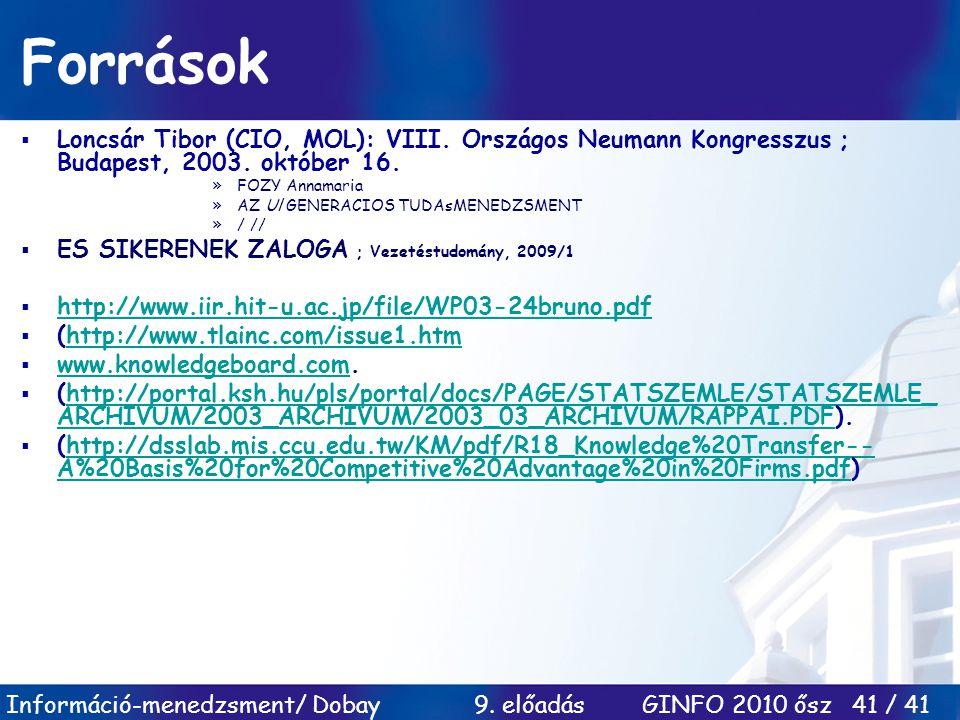 Források Loncsár Tibor (CIO, MOL): VIII. Országos Neumann Kongresszus ; Budapest, 2003. október 16.