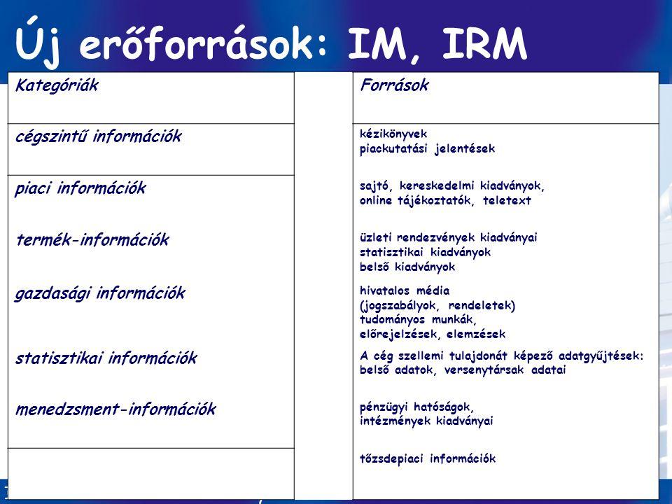 Új erőforrások: IM, IRM Kategóriák Források cégszintű információk