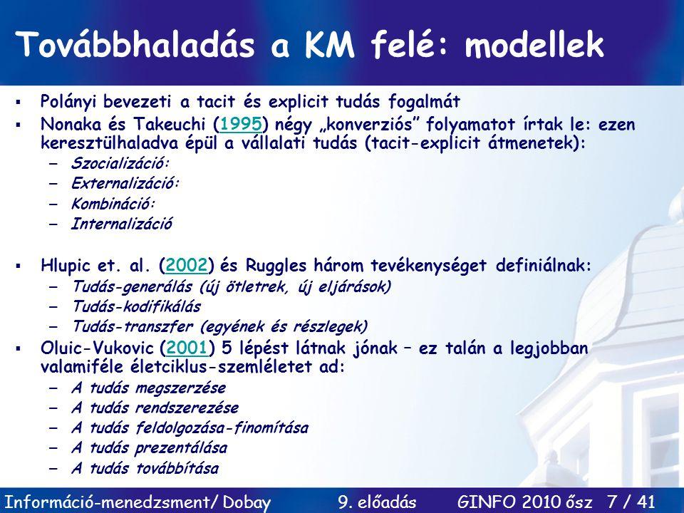 Továbbhaladás a KM felé: modellek