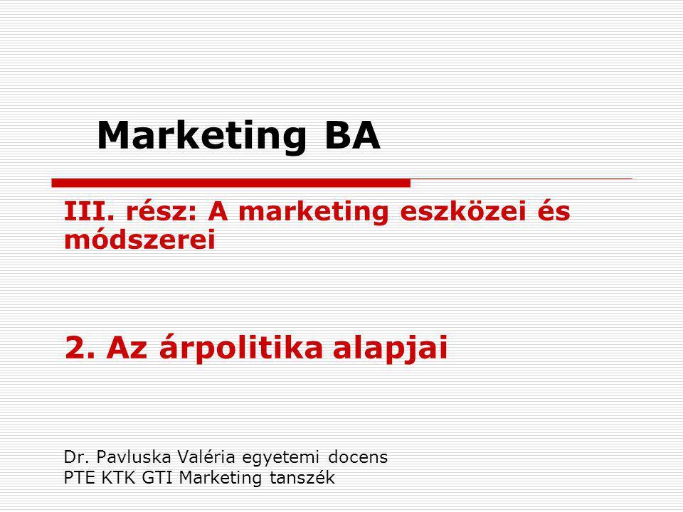 Marketing BA 2. Az árpolitika alapjai