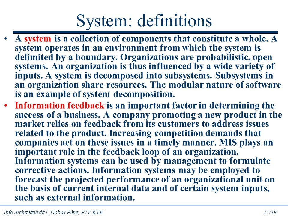 System: definitions