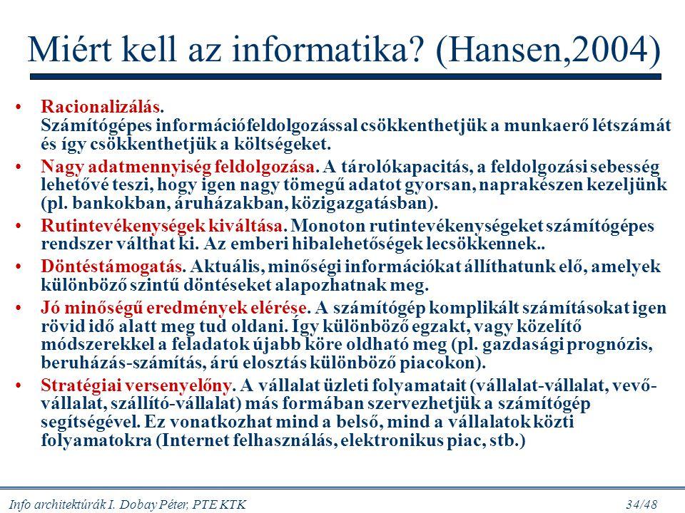 Miért kell az informatika (Hansen,2004)