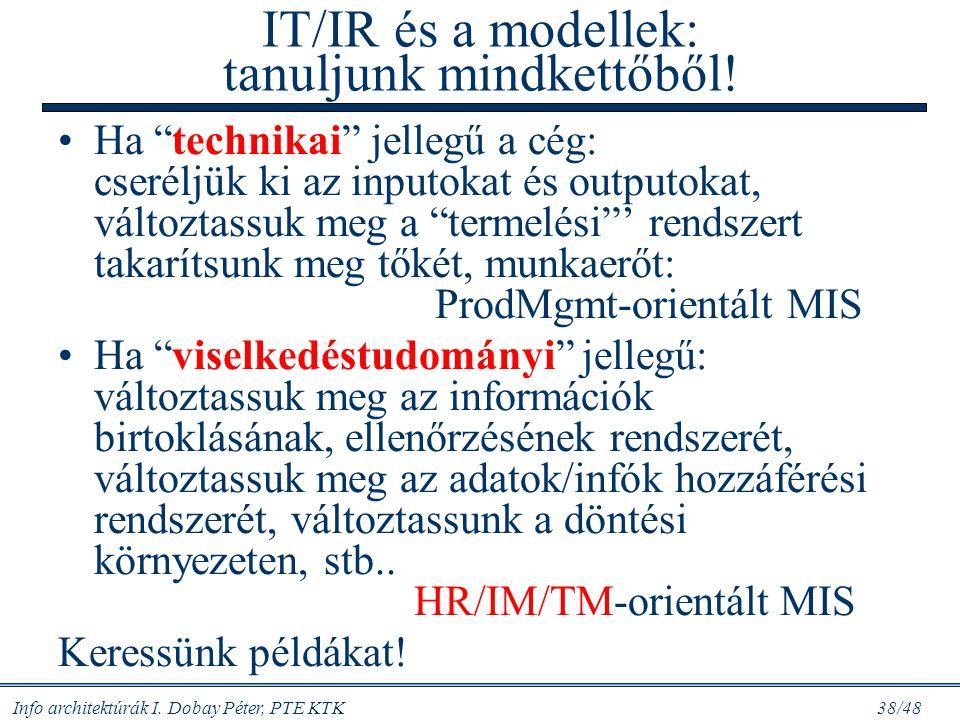 IT/IR és a modellek: tanuljunk mindkettőből!