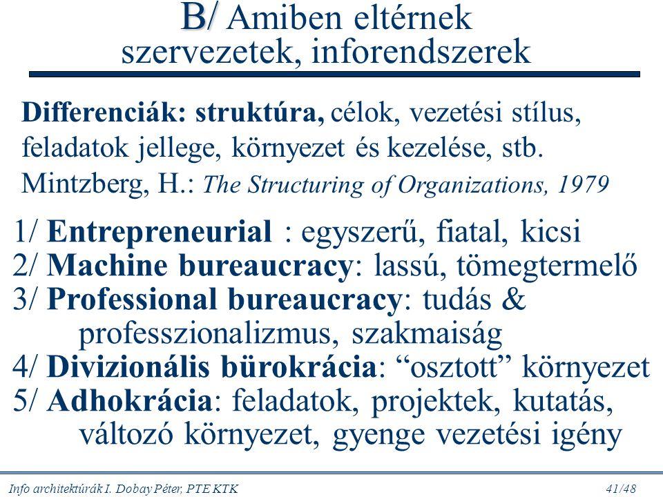 B/ Amiben eltérnek szervezetek, inforendszerek