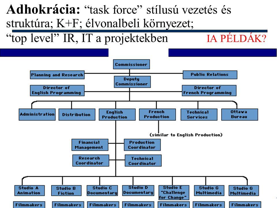 Adhokrácia: task force stílusú vezetés és struktúra; K+F; élvonalbeli környezet;