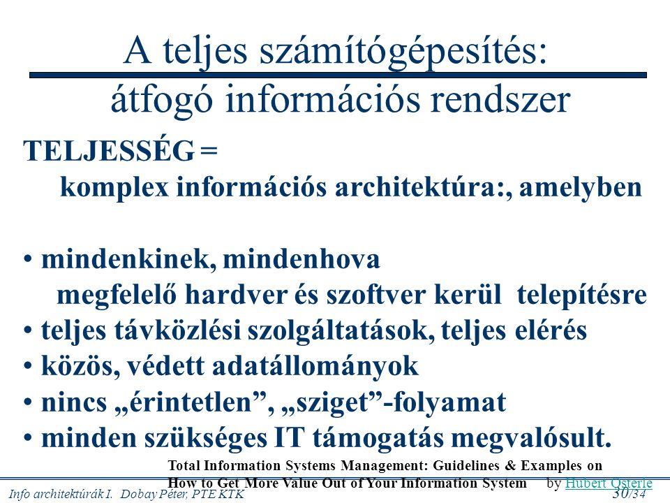 A teljes számítógépesítés: átfogó információs rendszer
