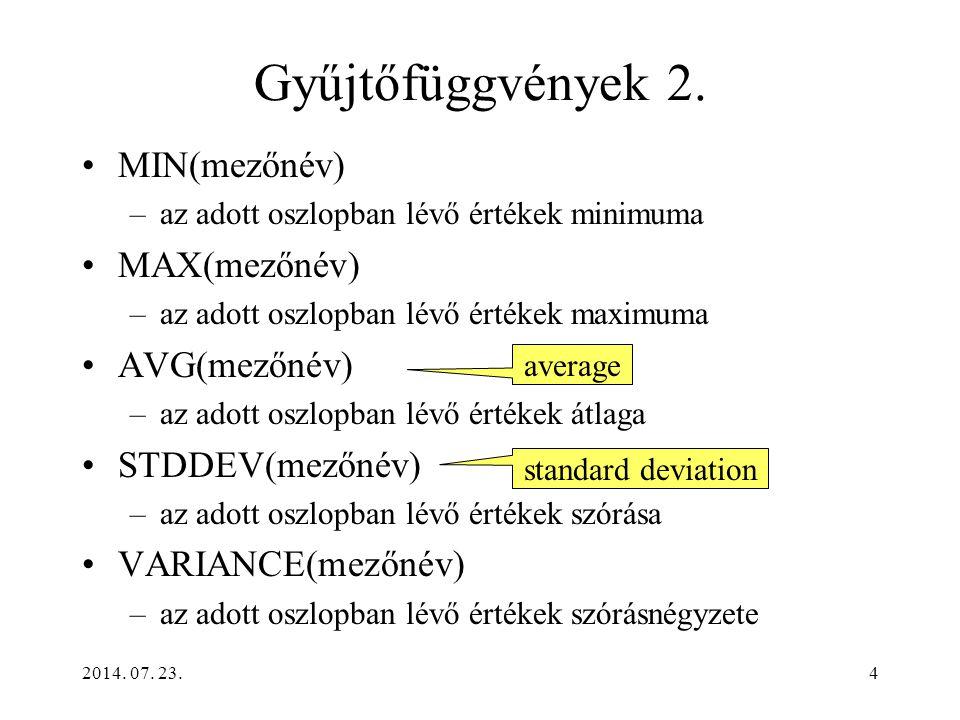 Gyűjtőfüggvények 2. MIN(mezőnév) MAX(mezőnév) AVG(mezőnév)