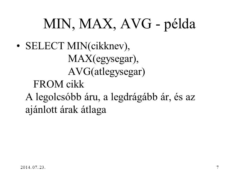 MIN, MAX, AVG - példa