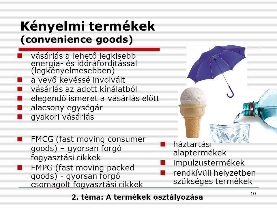 Kényelmi termékek (convenience goods)