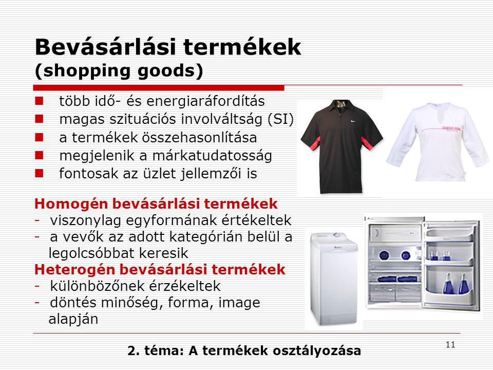 2. téma: A termékek osztályozása