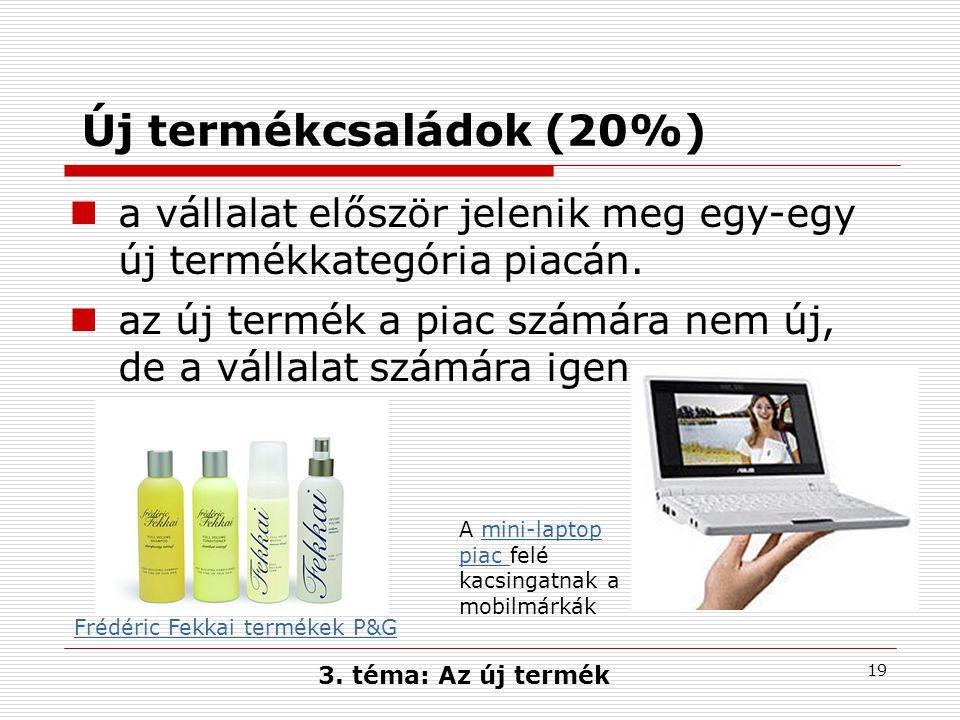 Új termékcsaládok (20%) a vállalat először jelenik meg egy-egy új termékkategória piacán.