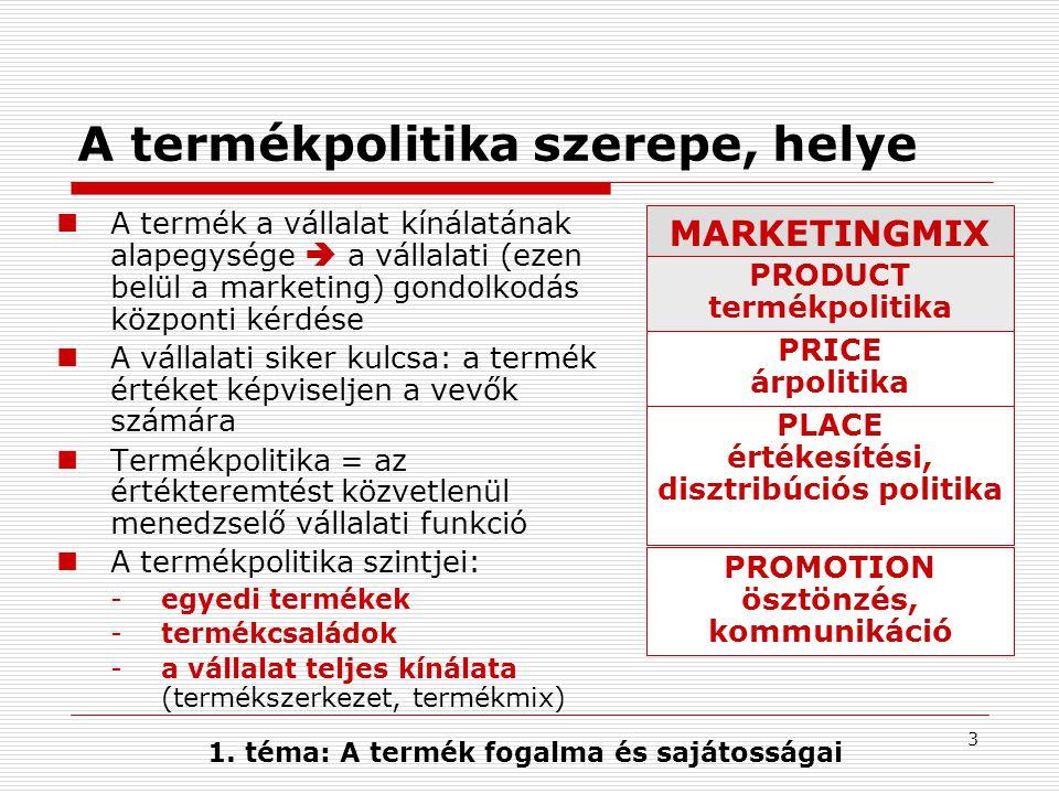 A termékpolitika szerepe, helye