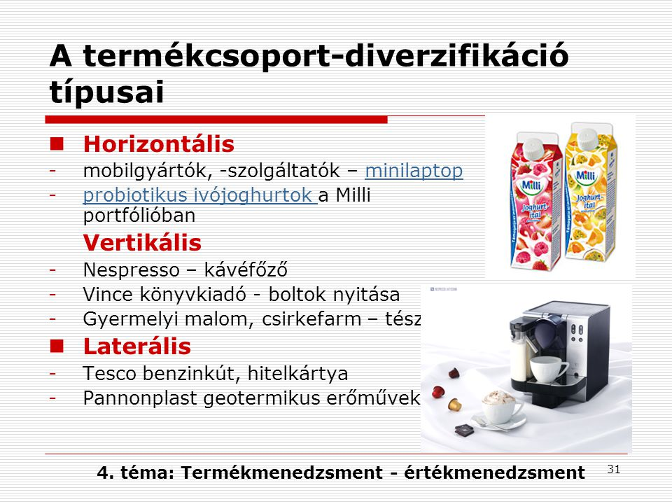 A termékcsoport-diverzifikáció típusai