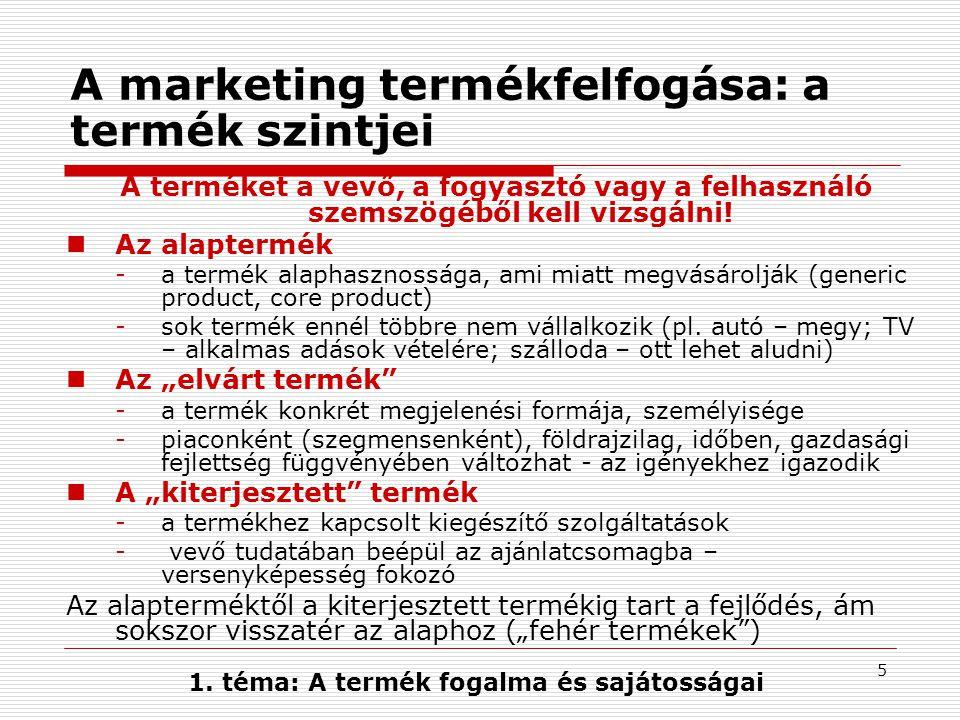A marketing termékfelfogása: a termék szintjei
