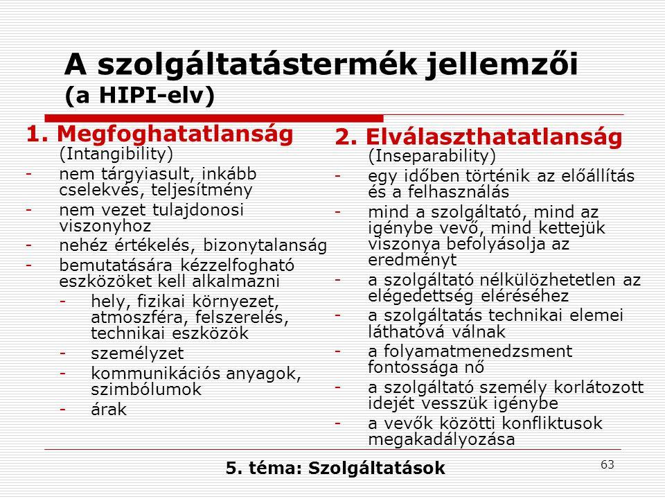 A szolgáltatástermék jellemzői (a HIPI-elv)