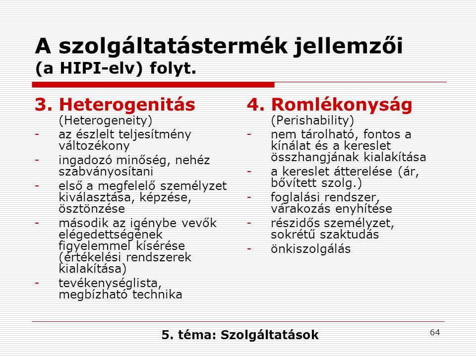 A szolgáltatástermék jellemzői (a HIPI-elv) folyt.