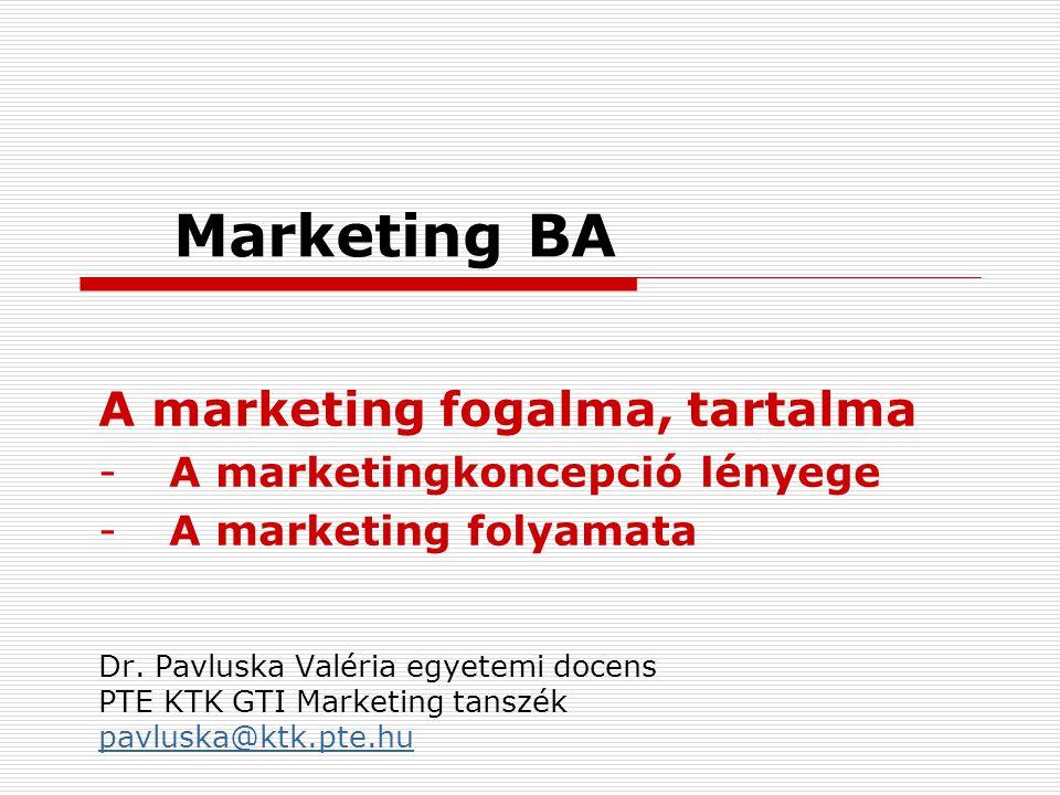 Marketing BA A marketing fogalma, tartalma