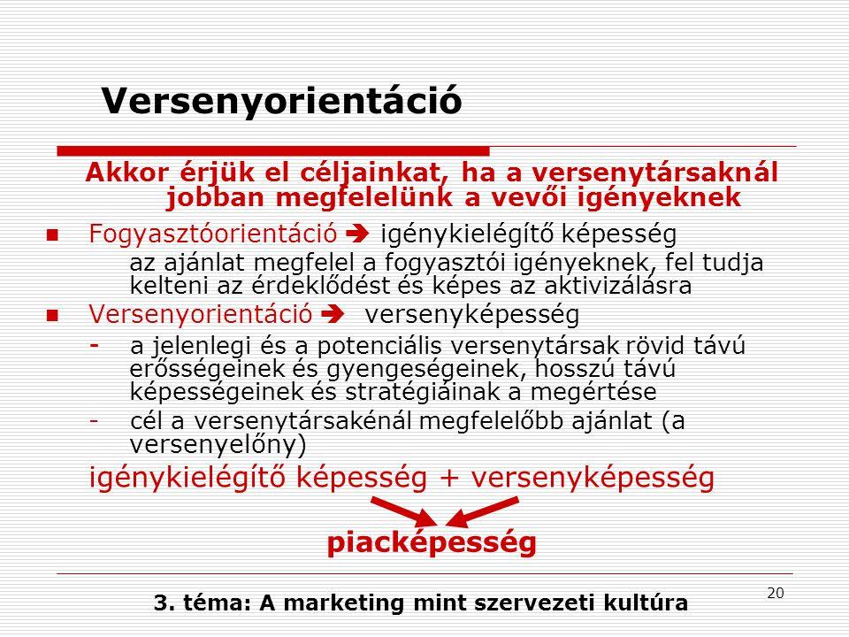 3. téma: A marketing mint szervezeti kultúra