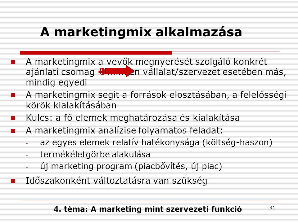 A marketingmix alkalmazása