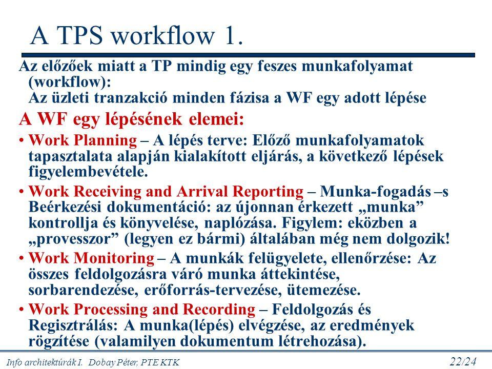 A TPS workflow 1. A WF egy lépésének elemei: