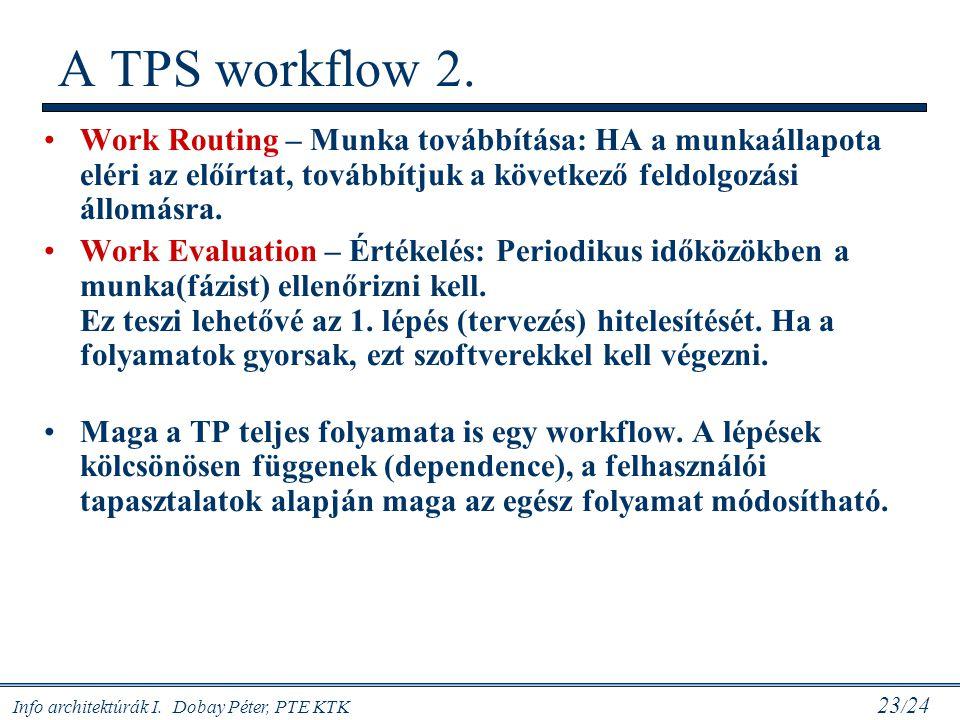 A TPS workflow 2. Work Routing – Munka továbbítása: HA a munkaállapota eléri az előírtat, továbbítjuk a következő feldolgozási állomásra.