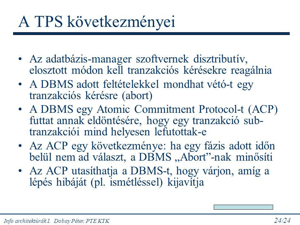 A TPS következményei Az adatbázis-manager szoftvernek disztributív, elosztott módon kell tranzakciós kérésekre reagálnia.