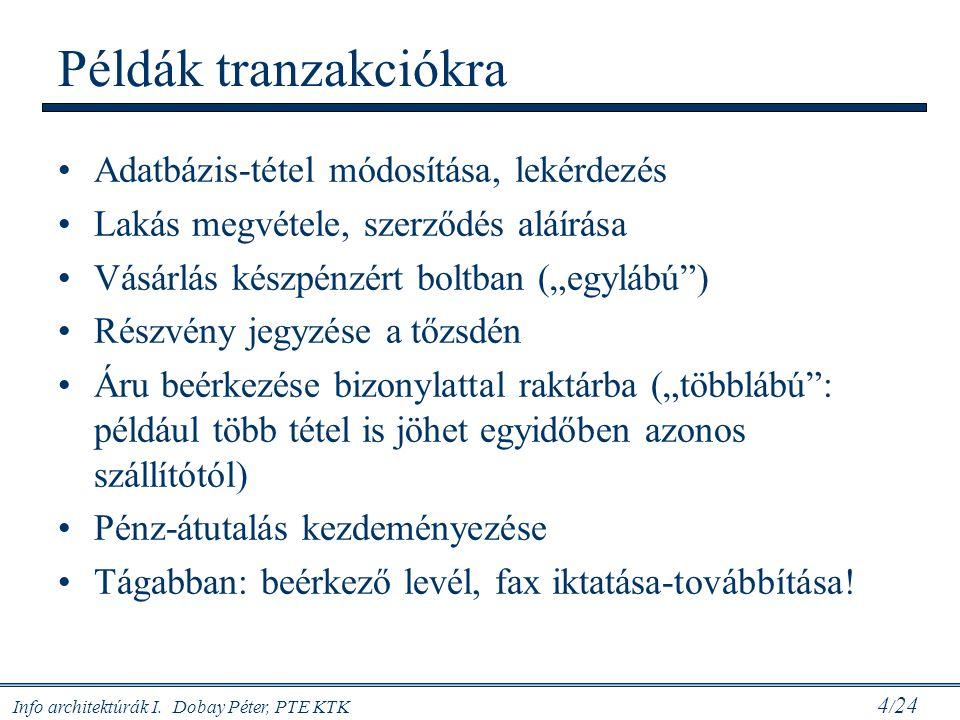 Példák tranzakciókra Adatbázis-tétel módosítása, lekérdezés