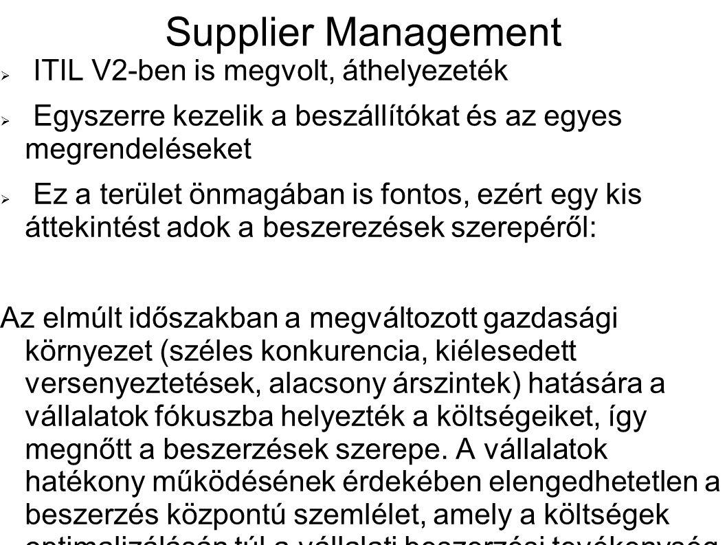 Supplier Management ITIL V2-ben is megvolt, áthelyezeték