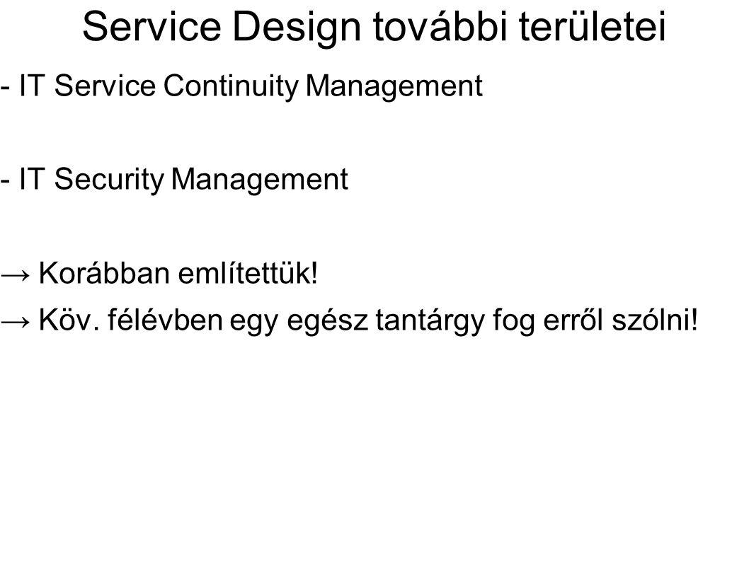 Service Design további területei