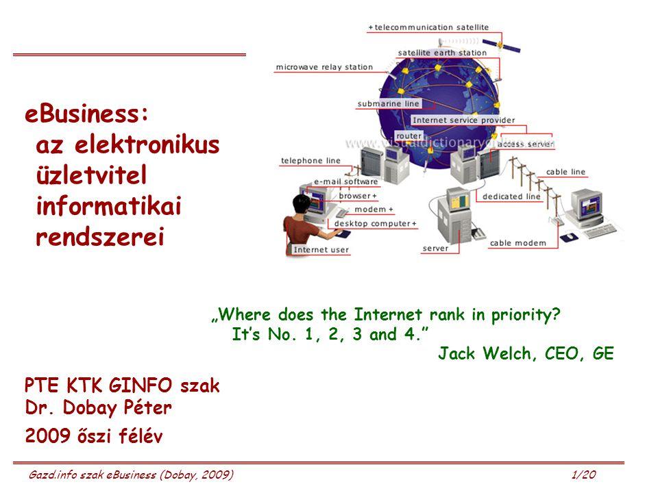 eBusiness: az elektronikus üzletvitel informatikai rendszerei