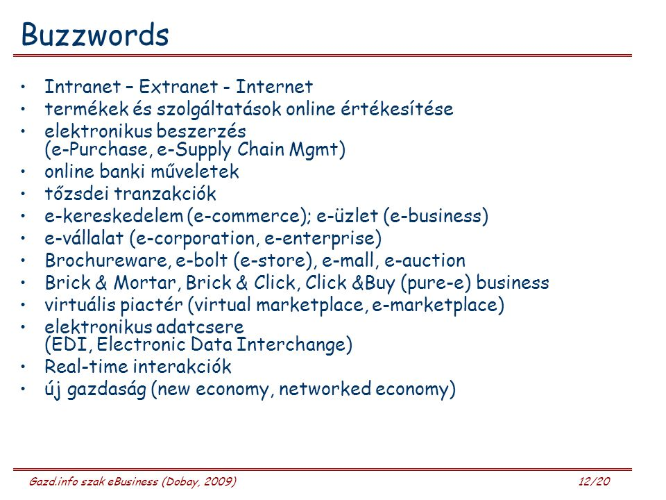 Buzzwords Intranet – Extranet - Internet