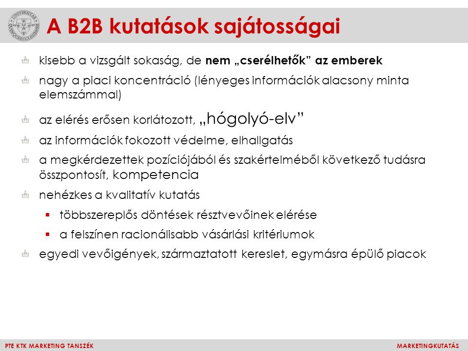A B2B kutatások sajátosságai