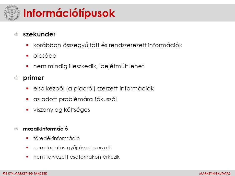 Információtípusok szekunder primer
