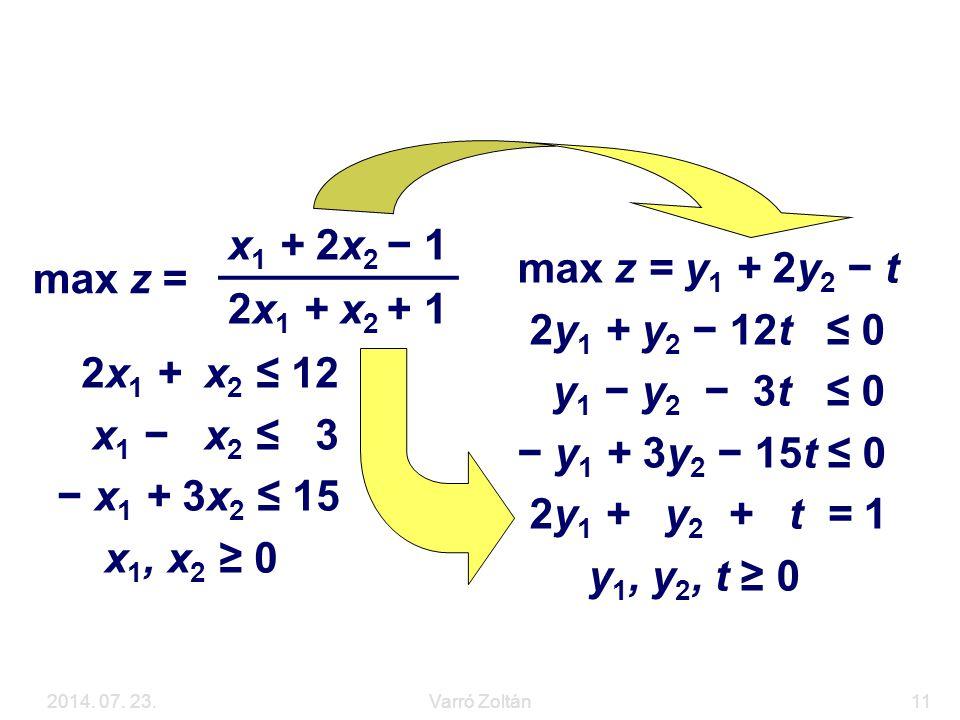 Példa max z = x1 + 2x2 − 1 2x1 + x2 + 1 max z = y1 + 2y2 − t
