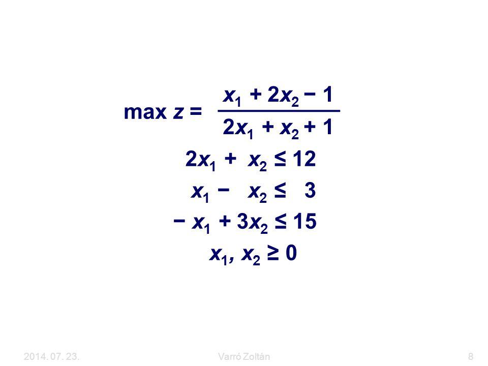 Példa max z = x1 + 2x2 − 1 2x1 + x2 + 1 2x1 + x2 ≤ 12 x1 − x2 ≤ 3