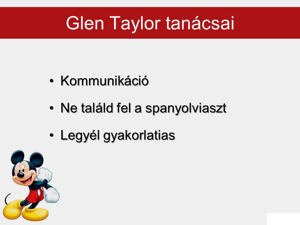 Glen Taylor tanácsai Kommunikáció Ne találd fel a spanyolviaszt