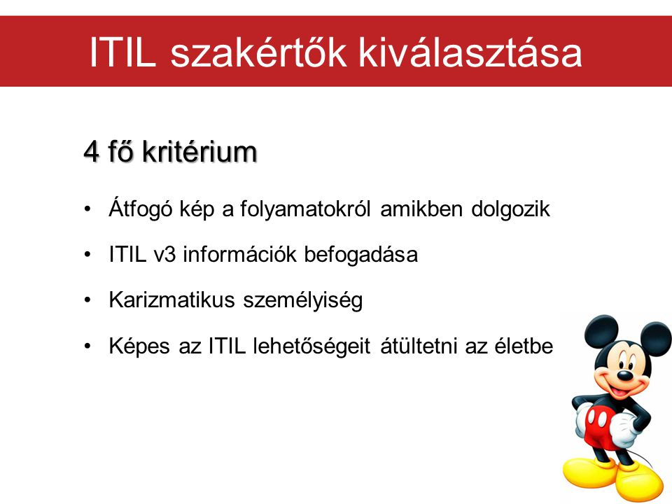 ITIL szakértők kiválasztása
