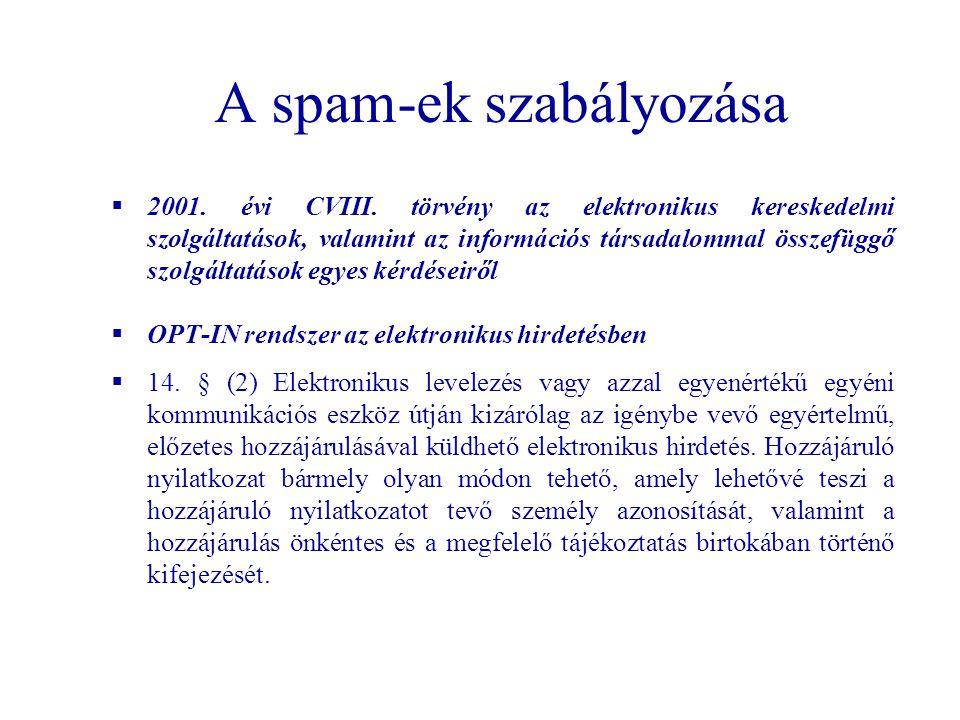 A spam-ek szabályozása