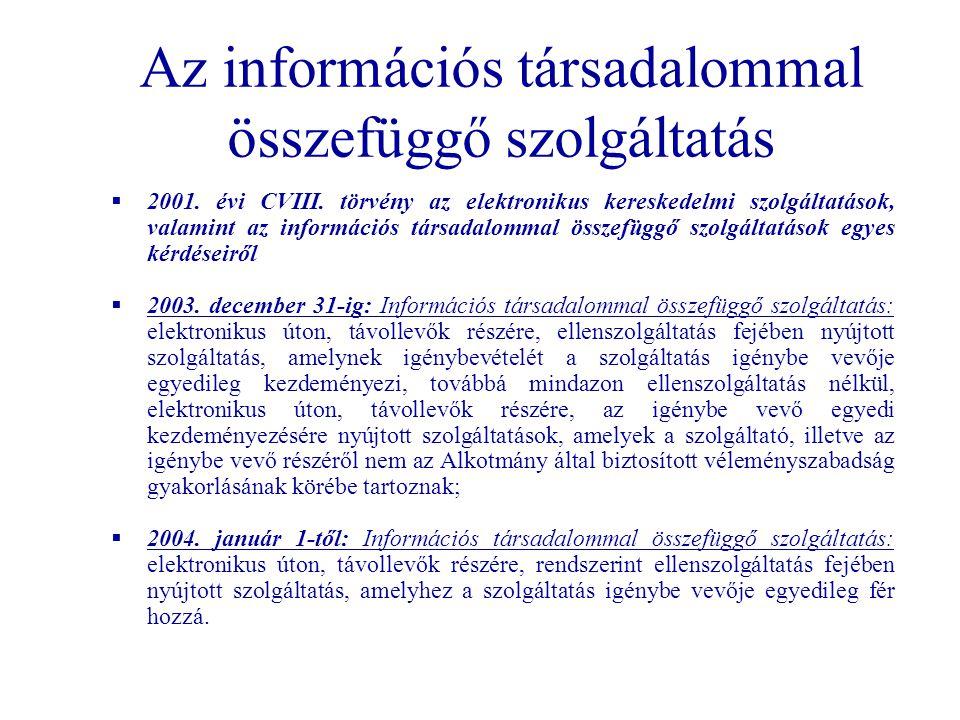 Az információs társadalommal összefüggő szolgáltatás