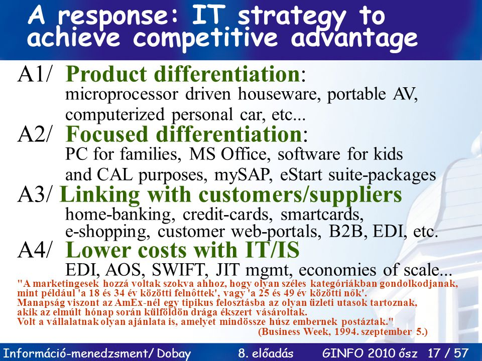A response: IT strategy to achieve competitive advantage