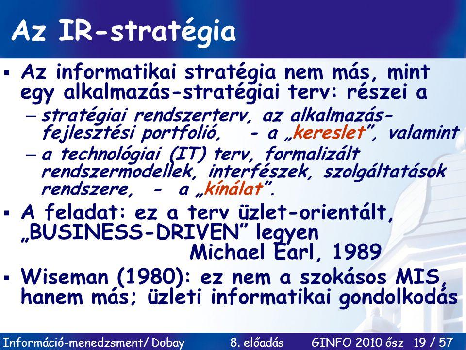 Az IR-stratégia Az informatikai stratégia nem más, mint egy alkalmazás-stratégiai terv: részei a.