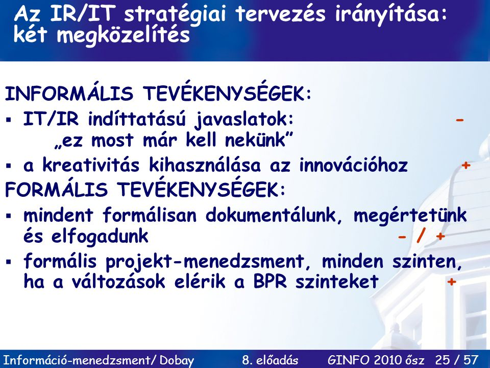 Az IR/IT stratégiai tervezés irányítása: két megközelítés
