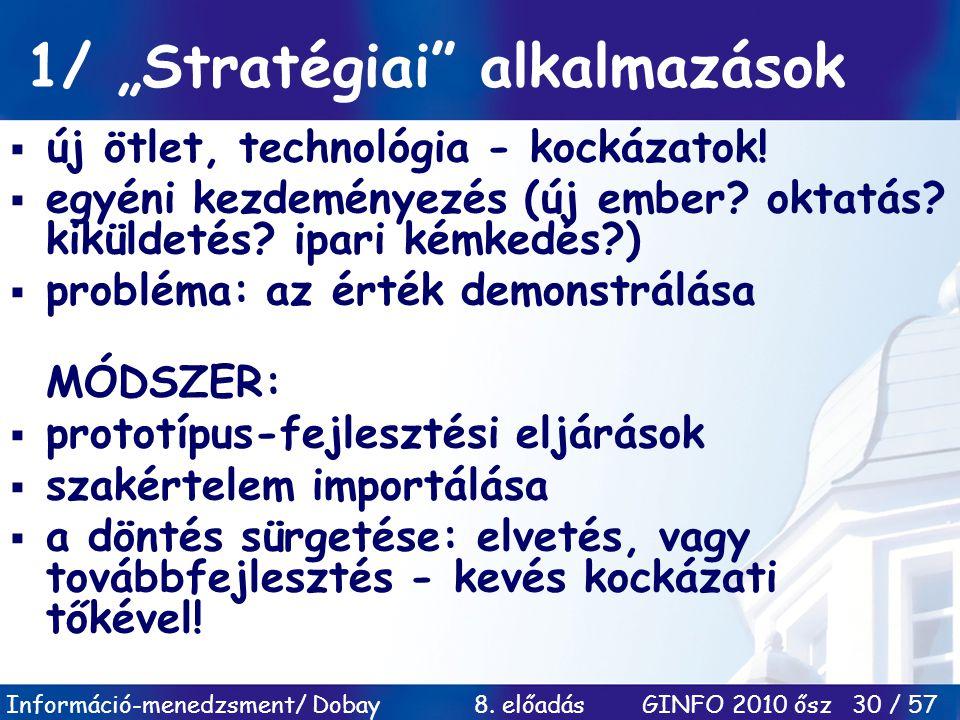 """1/ """"Stratégiai alkalmazások"""
