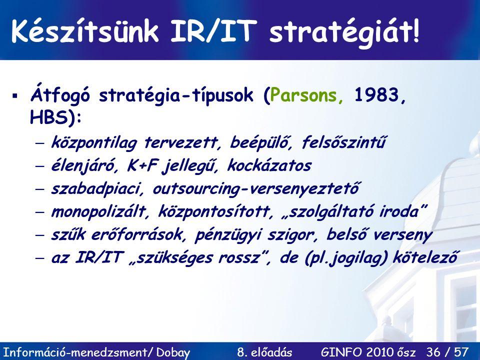 Készítsünk IR/IT stratégiát!