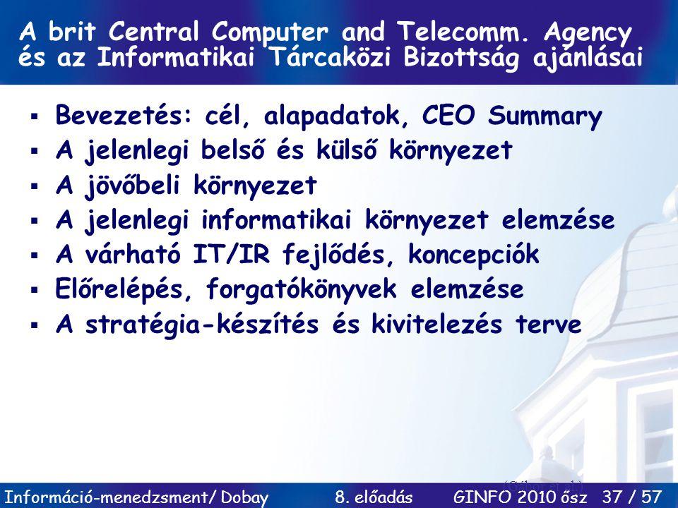 Bevezetés: cél, alapadatok, CEO Summary