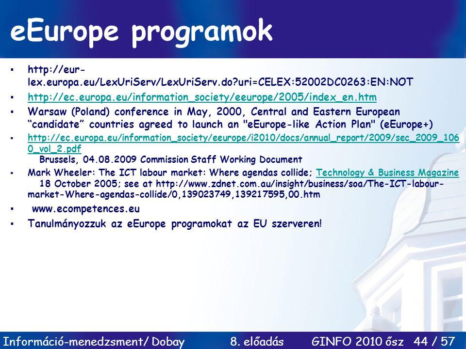 eEurope programok http://eur-lex.europa.eu/LexUriServ/LexUriServ.do uri=CELEX:52002DC0263:EN:NOT.