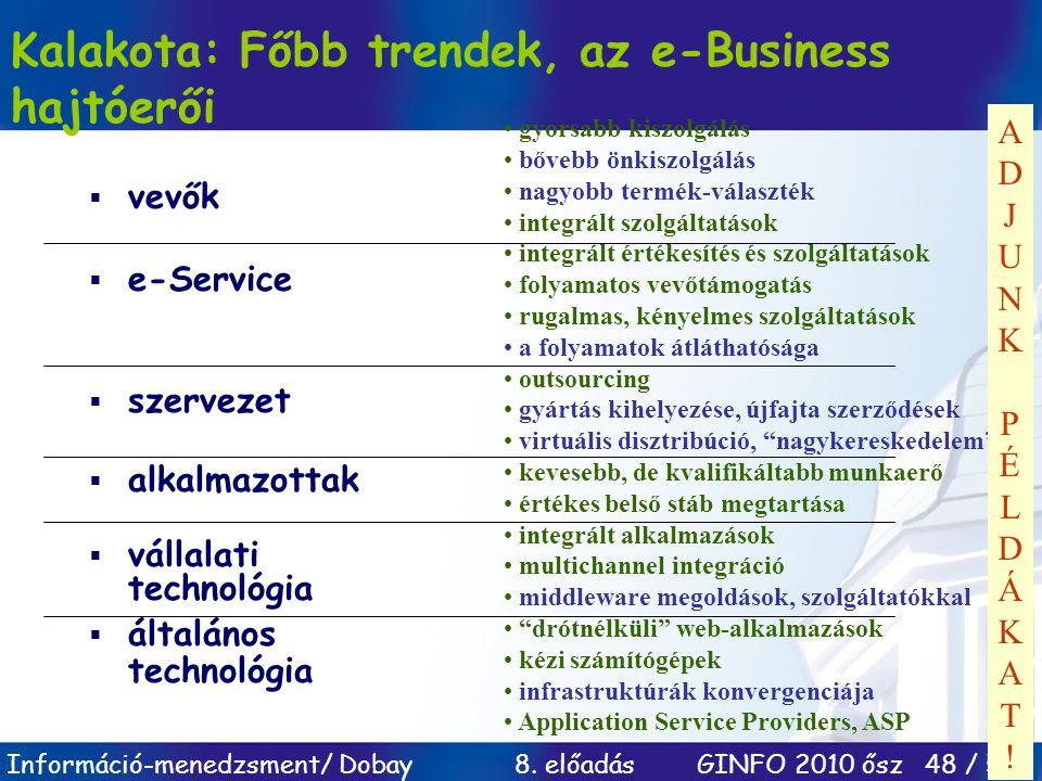 Kalakota: Főbb trendek, az e-Business hajtóerői